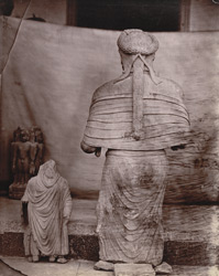 Rear view of Gandharan sculpture of a female figure in the Museum, Delhi